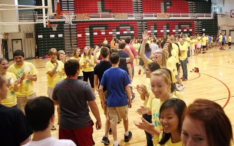 Students enter Sellett Gym during Freshmen orientation, fall 2013