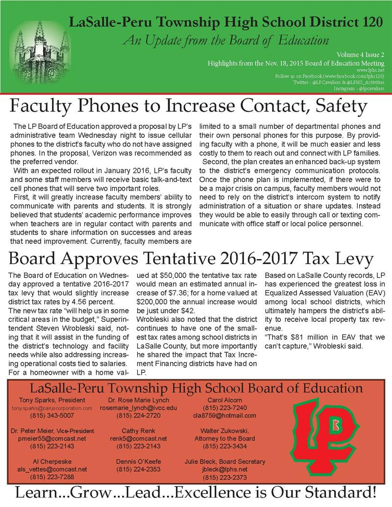 LPHS Board Update Nov 2015