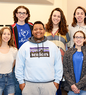 The six LP students chosen for ILMEA state performances pose in the choir room.