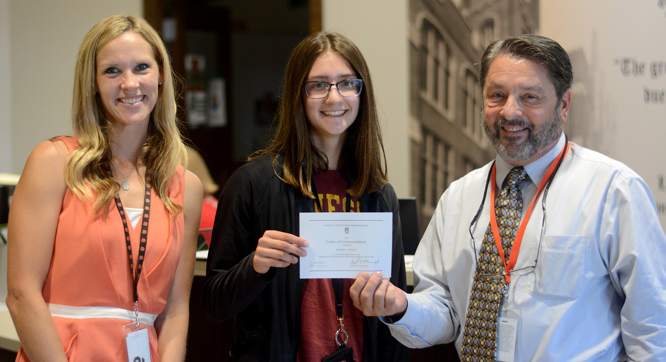 LaSalle-Peru Township High School senior Ashley Heagy receives a Letter of Commendation from LPHS i
