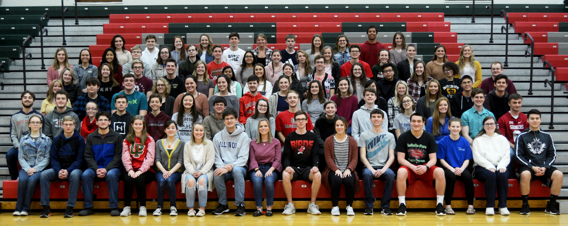 Image of seniors with 7 semester high scholarship honors.