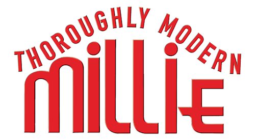 "Logo for ""Thoroughly Modern Millie"" musical that links to ticket purchasing site."