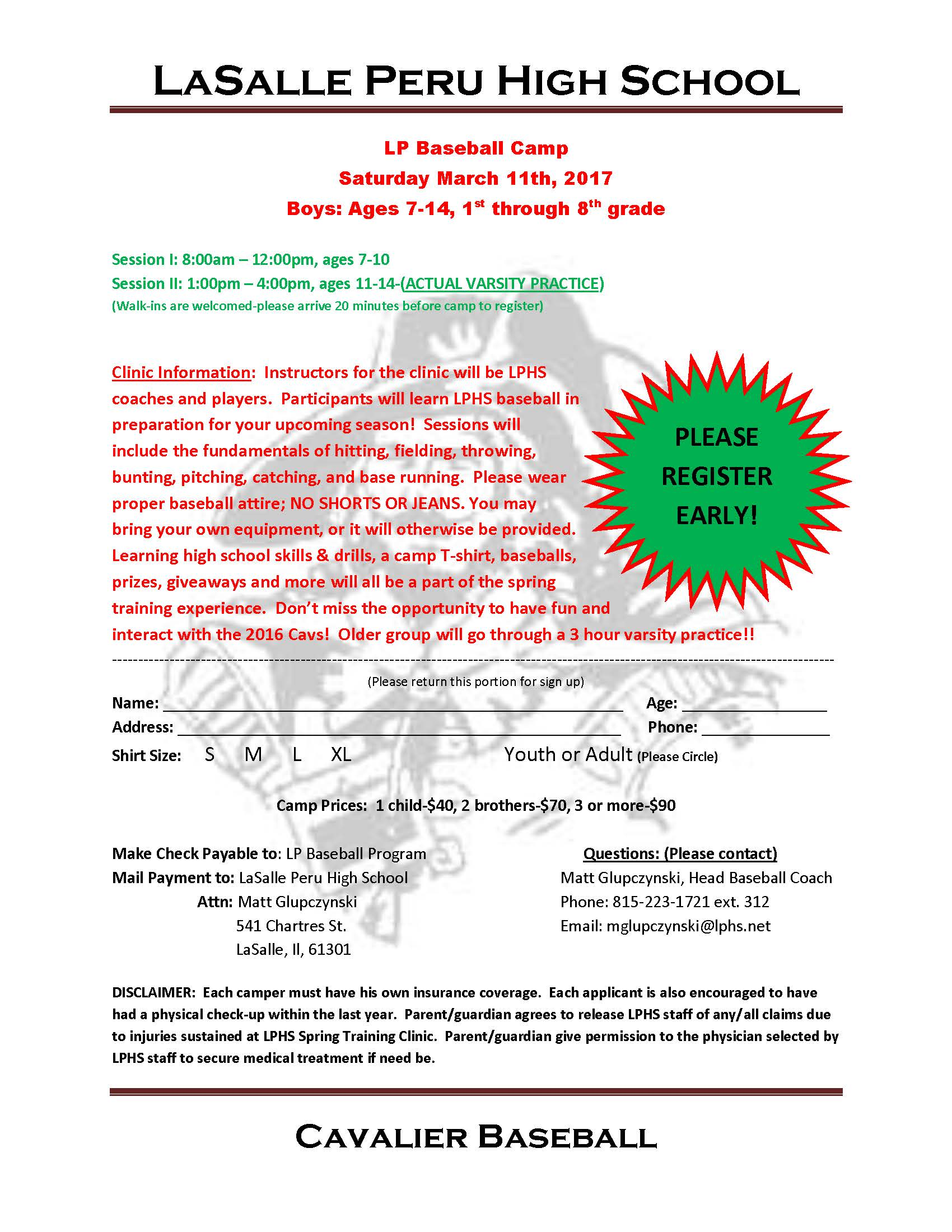 2017 Baseball Clinic Form